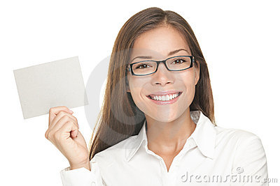 Blank sign woman smiling