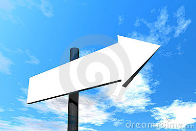 Blank signpost against sky