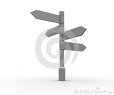 Blank signpost standing