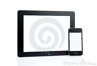 Blank smart phone and digital tablet