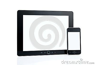 Blank smart phone and digital tablet