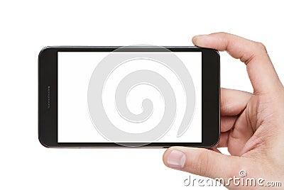 Blank smart phone in hand