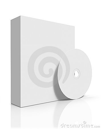 Blank software box with CD/DVD