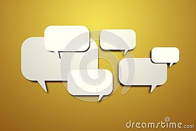 Blank speech bubbles on the wall