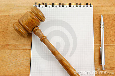 Blank spiral note pad and gavel