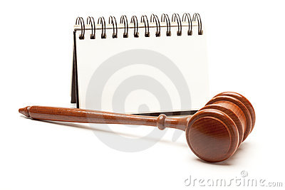 Blank Spiral Note Pad and Gavel on White.