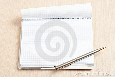 Blank spiral note pad and pen