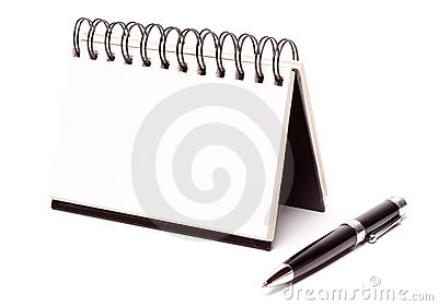 Blank Spiral Note Pad and Pen on White