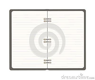 Blank spiral notebook open