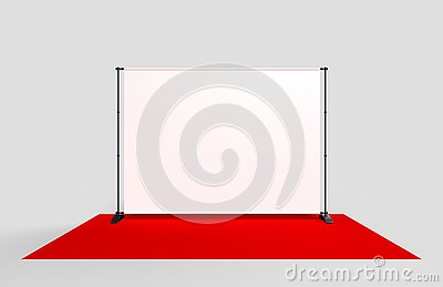 Blank Step and Repeat Telescoping Backdrop Banner. 3d render illustration. Cartoon Illustration