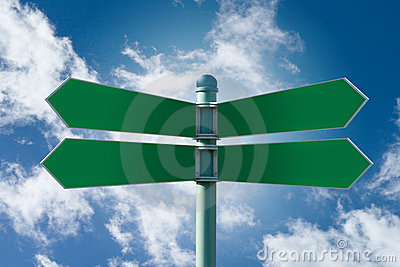 Blank street sign post with 4 signs