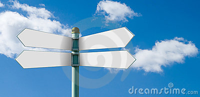 Blank street sign post with 4 white signs