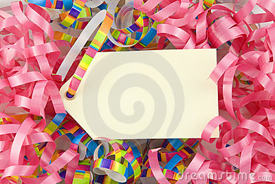 Blank Tag with Colorful Ribbons