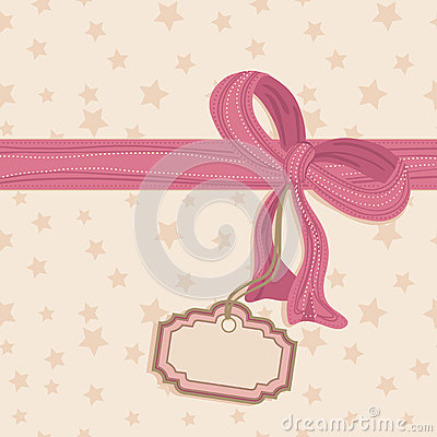 Blank tag and pink bow