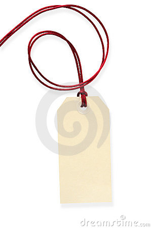 Blank Tag with Red Cord