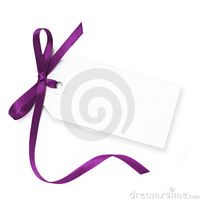 Free Blank Tag With Purple Ribbon Royalty Free Stock Photos - 10738728