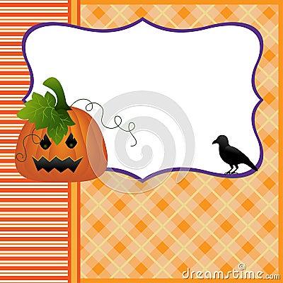 Blank template for Halloween pumpkin crow postcard