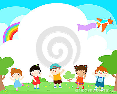 Blank template happy kids poster design . Vector Illustration