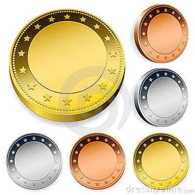 Blank token coins set with copy space