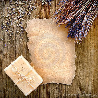 Free Blank Torn Paper With Lavender Flowers And Soap Stock Photos - 23632843