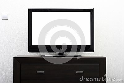 Blank tv screen on brown commode