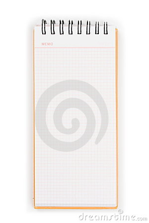 Blank vertical memo pad with orange cover