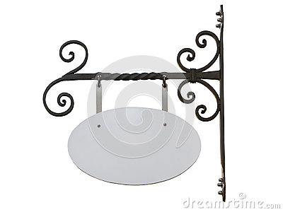 Blank Vintage Shop Sign With Iron Wall Mount Isolated