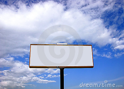 Blank white advertising billboard on blue sky