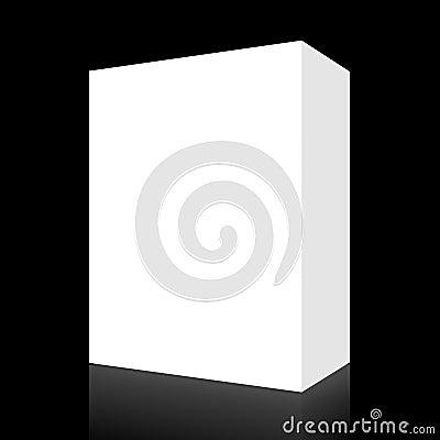 Blank white box on black