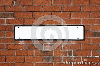 Blank white British street sig