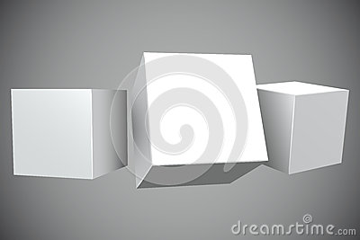 Blank white 3D cubes