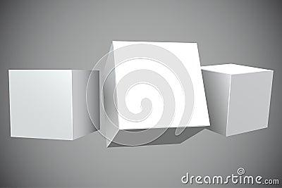 Blank white 3D cubes