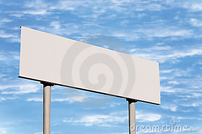 Blank White Directional Road Sign Guide Post Sky