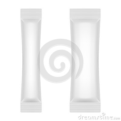 Free Blank White Foil Sachet For Sugar, Coffee, Salt, Pepper Or Sweets Stock Photos - 36716913