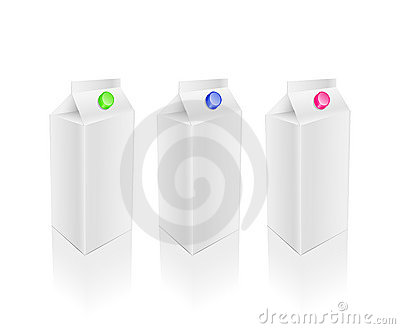 Blank white milk pack set
