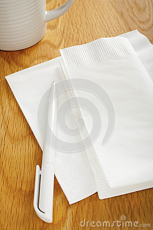 Blank White Napkin or Serviette and Pen