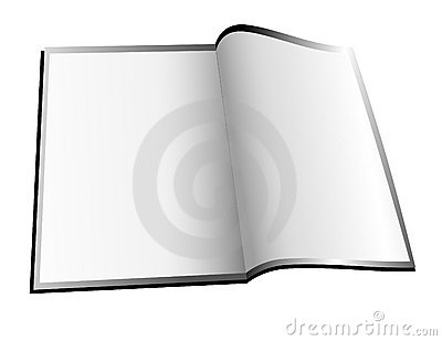 Blank, White Open Book/Magazine