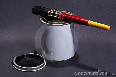Blank White Paint Tin With Paintbrush on top and lid in Foreground