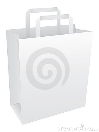 Blank white paper bag with handles