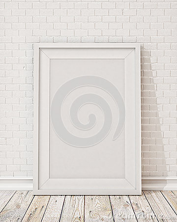 Free Blank White Picture Frame On The Wall And The Floor Royalty Free Stock Photography - 46281527
