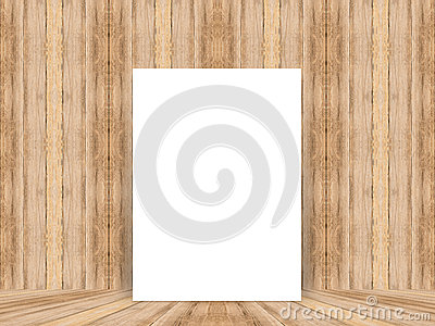 Blank White Poster Leaning At Tropical Wood Table Top With Plank