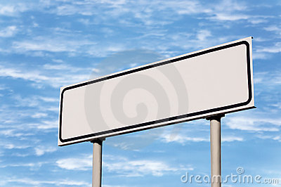 Blank White Signpost Road Sign Guide Post Sky