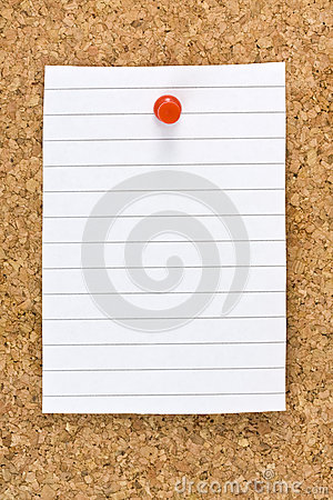 Blank White Striped Sheet Cork Board Pushpin