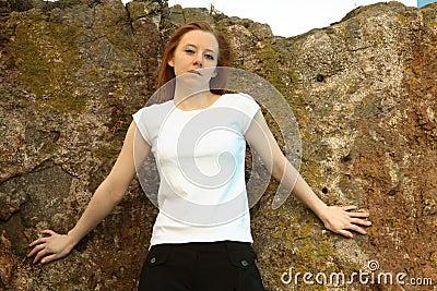 Blank white t shirt girl