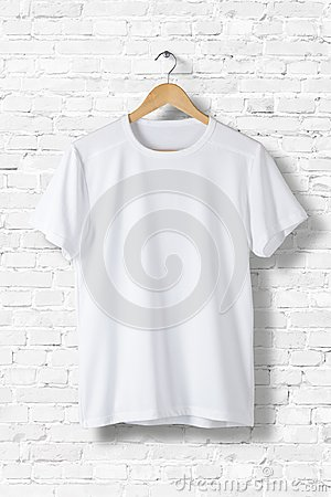 Free Blank White T-Shirt Mock-up Hanging On White Wall, Front Side View. Stock Image - 102475031