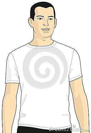 Blank White T-shirt Model Man 3