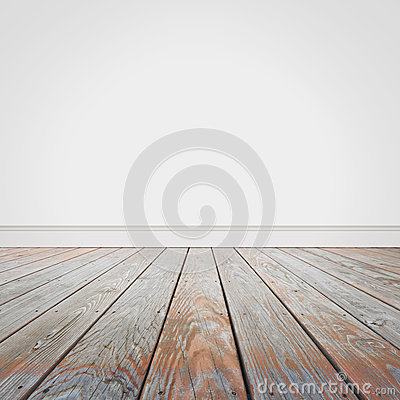 Blank white wall and wooden old floor background stock for 180 water street 9th floor