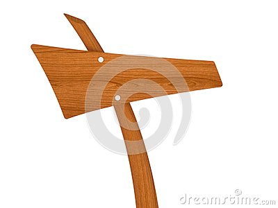 Blank wooden direction sign