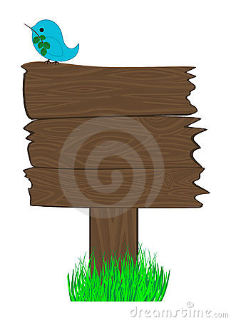 Blank wooden sign and bird on it