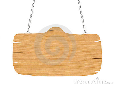 Blank wooden signboard with chain